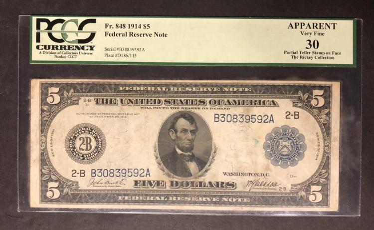 1914 $5 Federal Reserve Large Note PCGS VF30