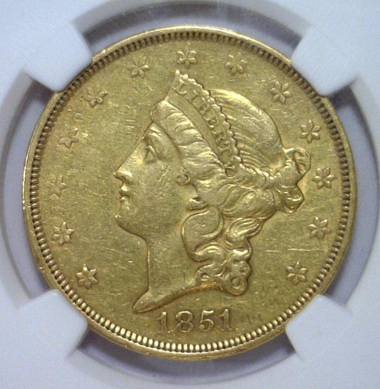 1851 $20 Liberty Head Gold Double Eagle NGC AU det