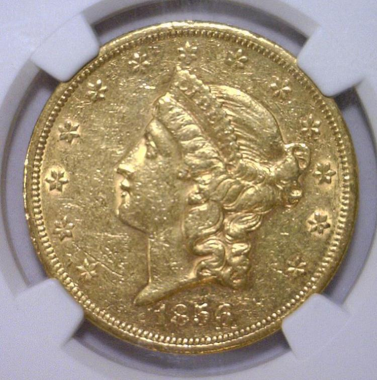 1856-S $20 Liberty Head Gold Double Eagle NGC AU55