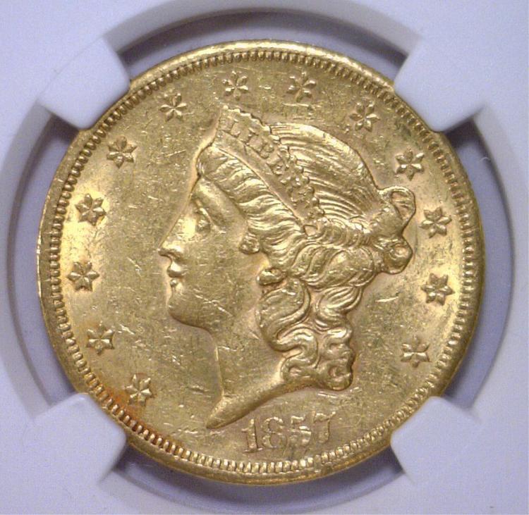 1857-S $20 Liberty Head Double Eagle NGC AU detail