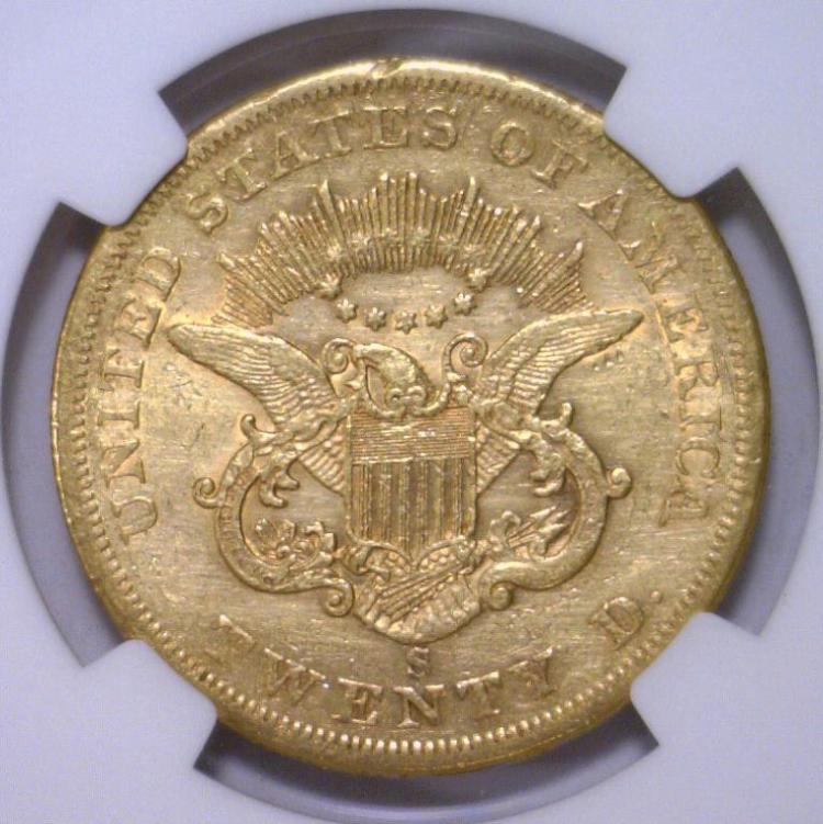 1861-S $20 Liberty Head Double Eagle NGC XF detail