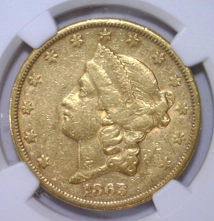 1863-S $20 Liberty Head Gold Double Eagle NGC XF45