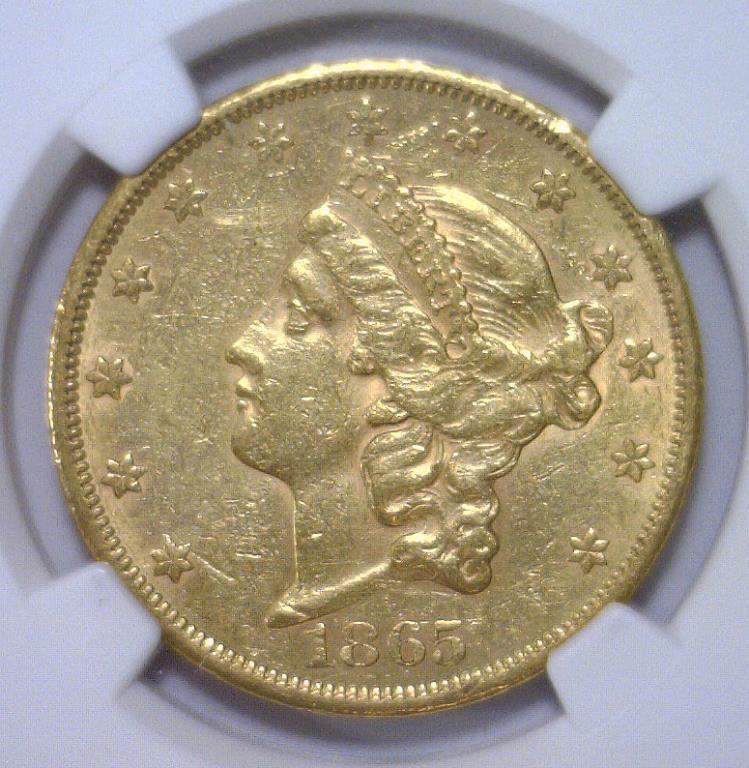 1865-S $20 Liberty Head Double Eagle NGC AU detail
