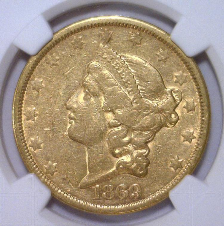 1869-S $20 Liberty Head Gold Double Eagle NGC XF40