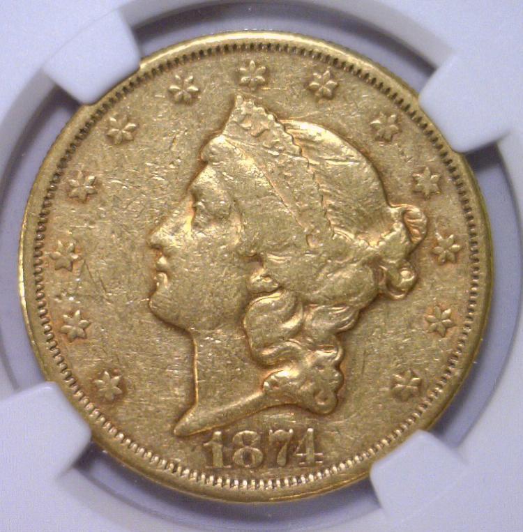 1874-CC $20 Liberty Gold Double Eagle NGC VF35