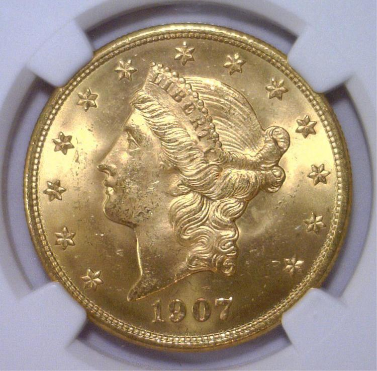 1907-D $20 Liberty Gold Double Eagle NGC MS64