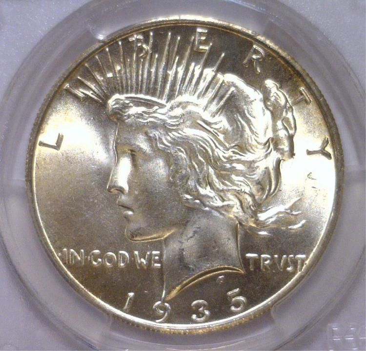 1935-S Peace Silver Dollar Better Date PCGS MS65