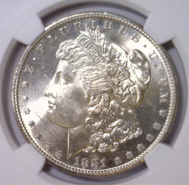 1881-S Morgan Silver Dollar Gem BU NGC MS65