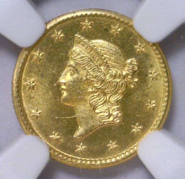 1850 Liberty Head Gold Dollar $1 NGC UNC details