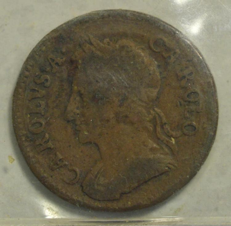 1672 Great Britain Copper 1 Farthing Fine