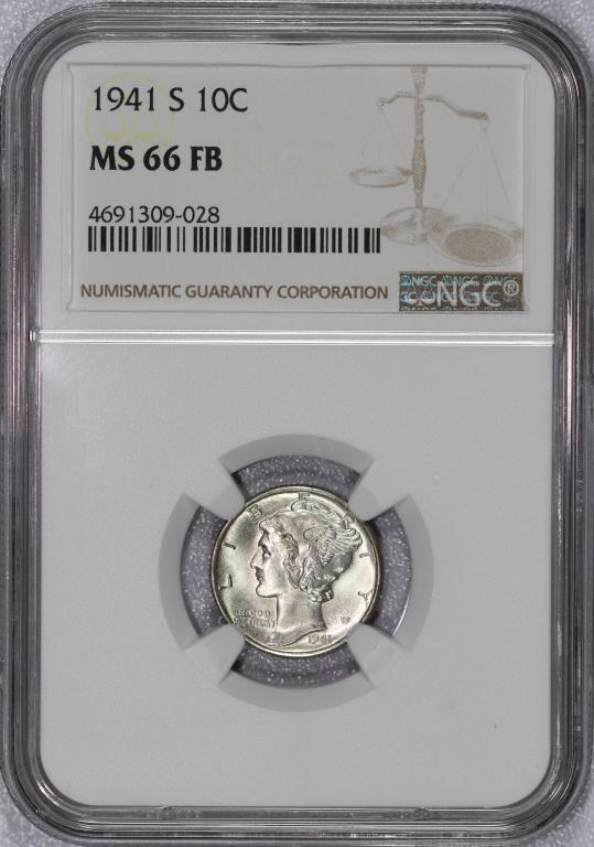 1941-S Mercury Silver Dime NGC MS66 FB Full Bands