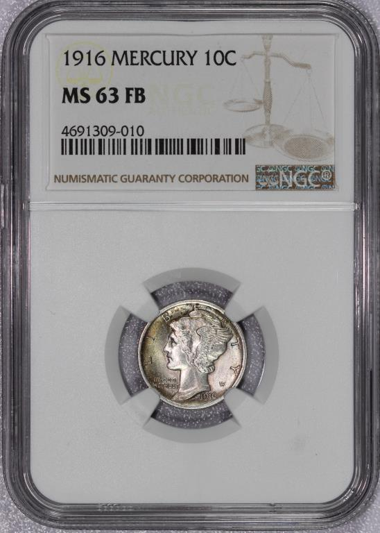 1916 Mercury Silver Dime NGC MS63 FB Full Bands