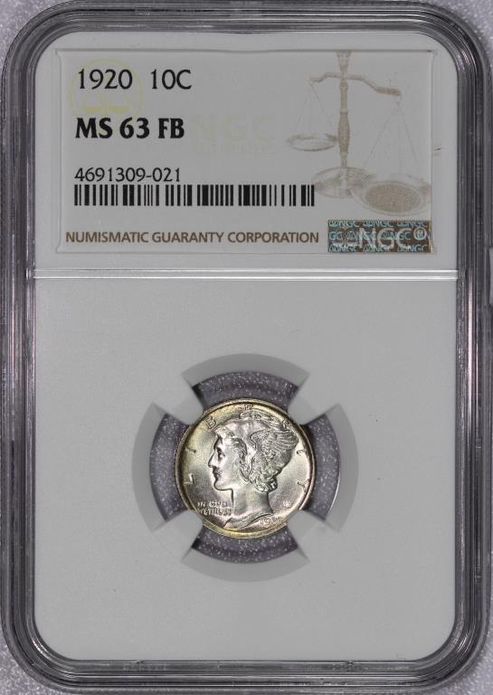 1920 Mercury Silver Dime NGC MS63 FB Full Bands