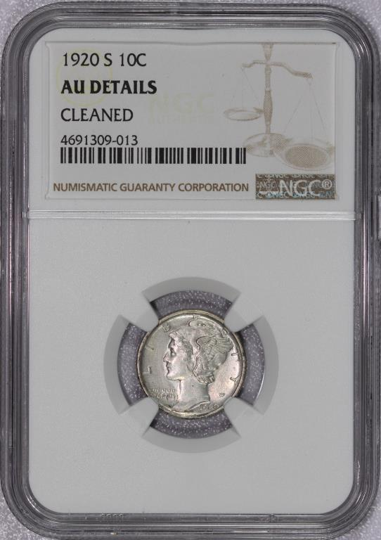 1920-S Mercury Silver Dime NGC AU details cleaned