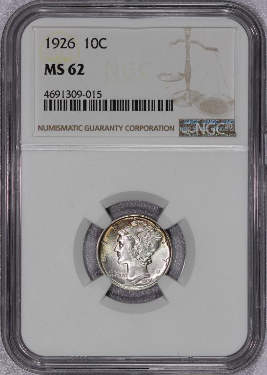 1926 Mercury Silver Dime NGC MS62