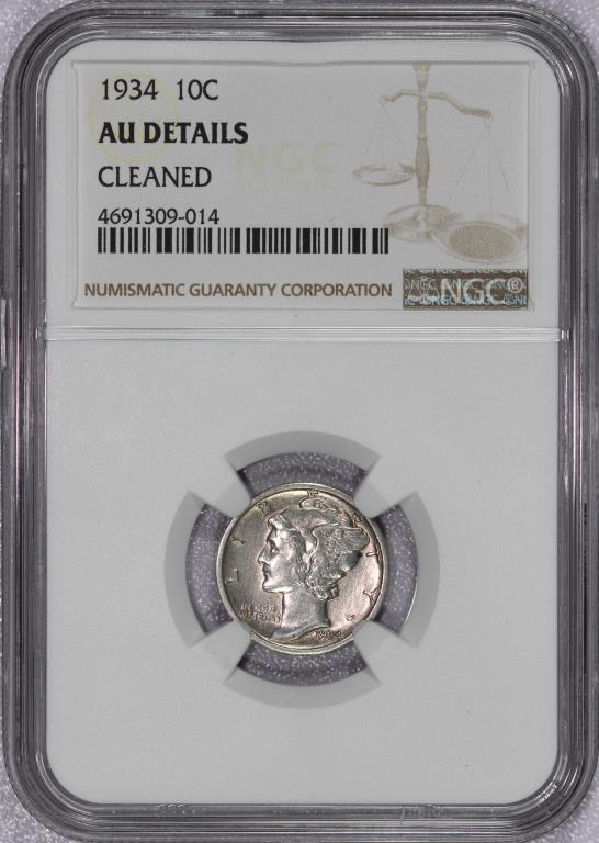 1934 Mercury Silver Dime NGC AU detail cleaned