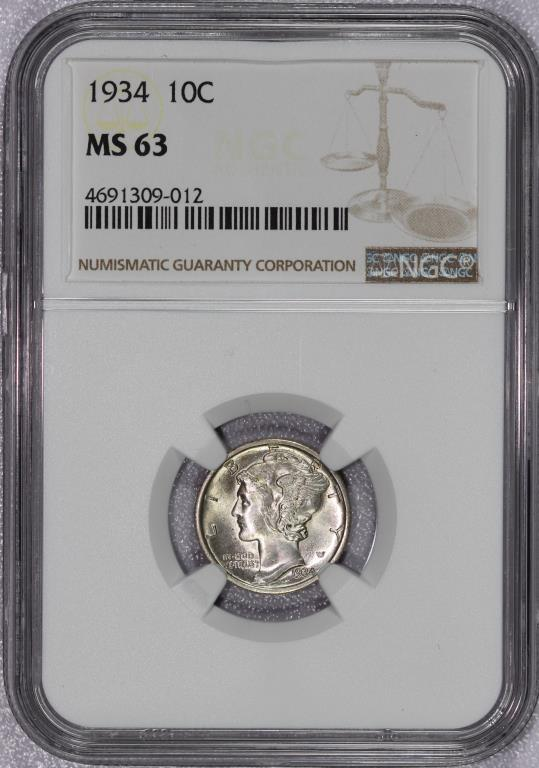 1934 Mercury Silver Dime NGC MS63