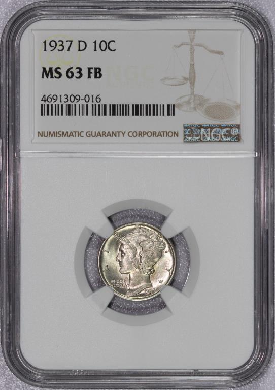1937-D Mercury Silver Dime NGC MS63 FB Full Bands
