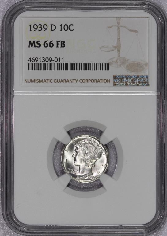 1939-D Mercury Silver Dime NGC MS66 FB Full Bands