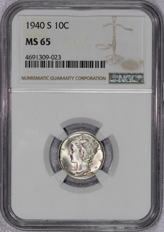 1940-S Mercury Silver Dime Gem BU NGC MS65