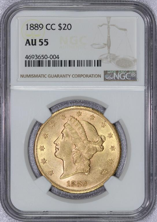 1889-CC $20 Liberty Gold Double Eagle NGC AU55