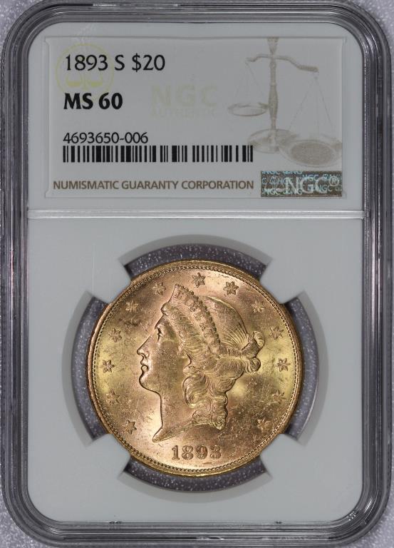 1893-S $20 Liberty Gold Double Eagle NGC MS60