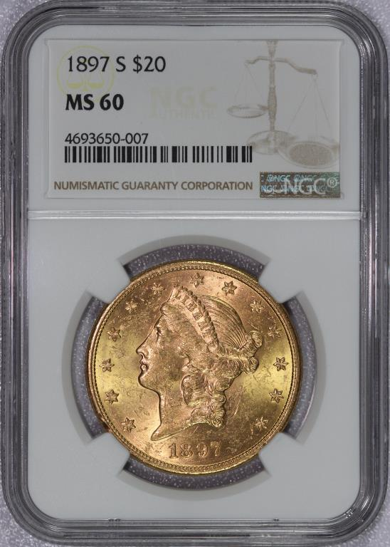 1897-S $20 Liberty Gold Double Eagle NGC MS60
