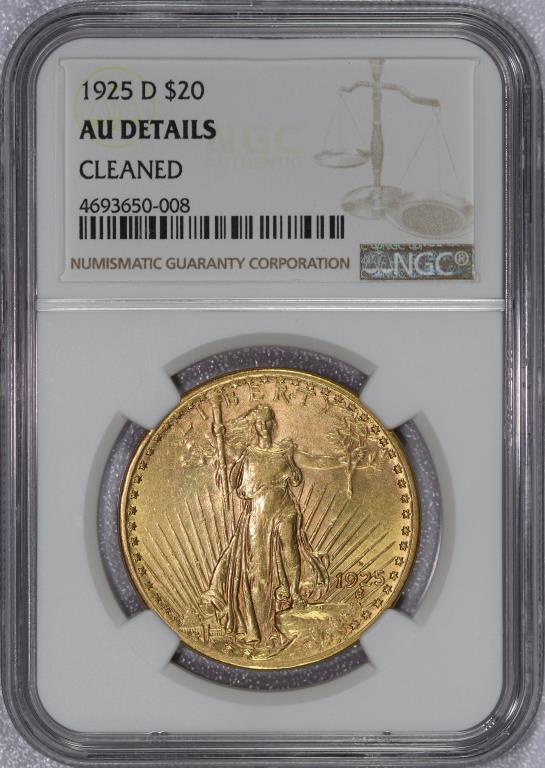 1925-D $20 St Gaudens Gold Double Eagle NGC AU det