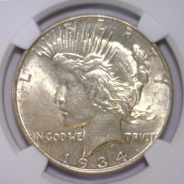 1934-D Peace Silver Dollar NGC MS62