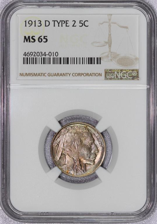 1913-D Type 2 Buffalo Nickel NGC MS65