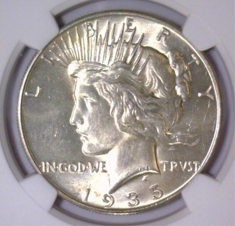 1935 Peace Silver Dollar NGC MS62