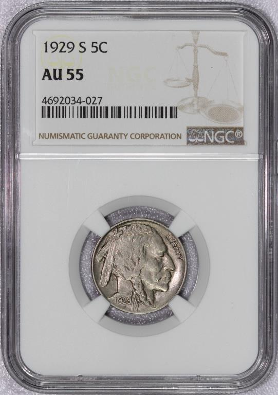 1929-S Buffalo Nickel NGC AU55