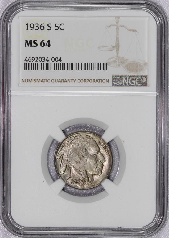 1936-S Buffalo Nickel NGC MS64