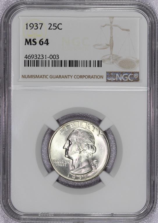 1937 Washington Silver Quarter NGC MS64