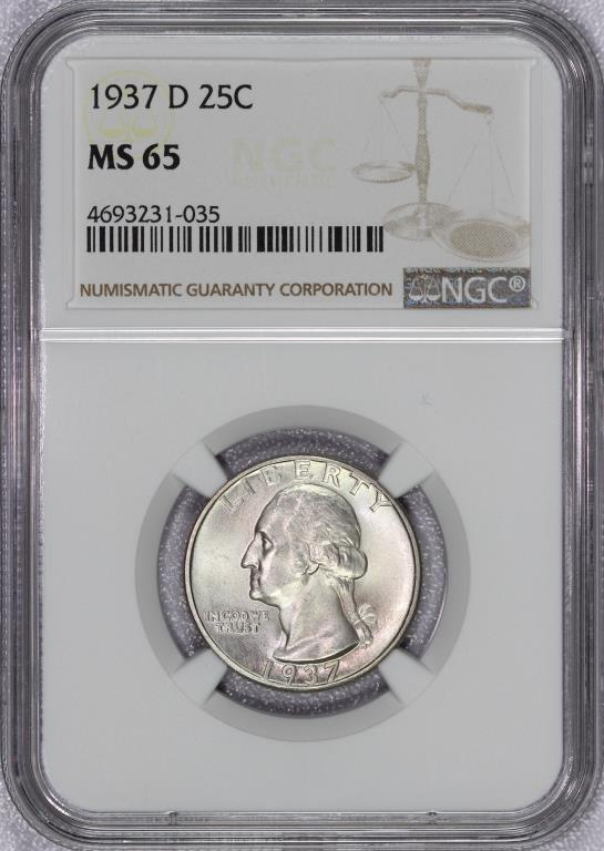 1937-D Washington Silver Quarter NGC MS65