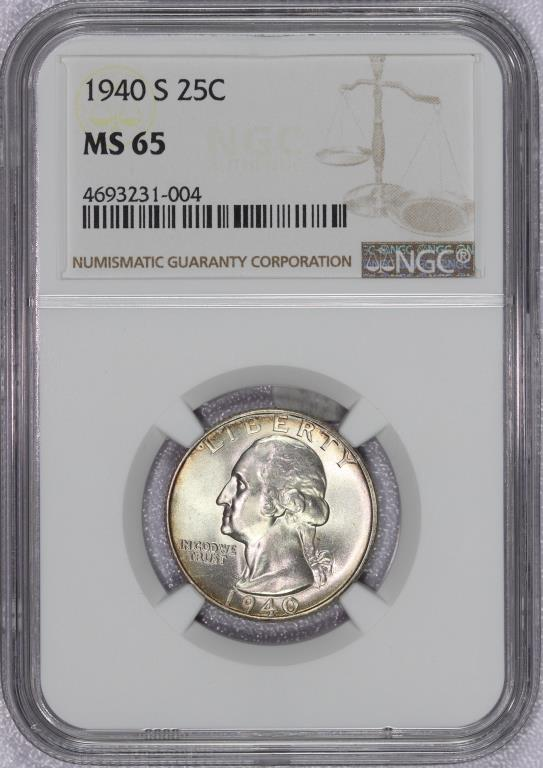 1940-S Washington Silver Quarter NGC MS65