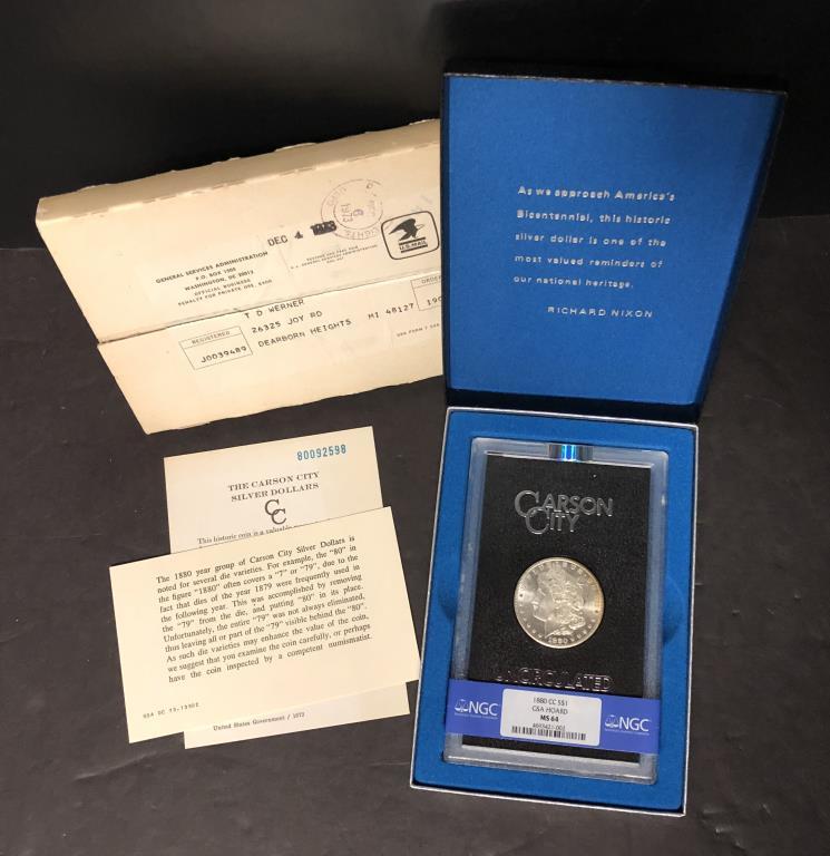 1880-CC Morgan $1 GSA NGC MS64 w/Shipping Box