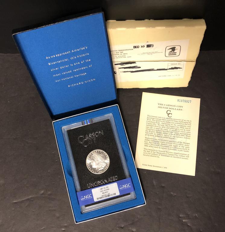 1881-CC Morgan $1 GSA NGC MS65+ w/Shipping Box