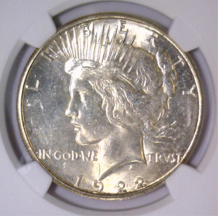 1922-S Peace Silver Dollar NGC MS62