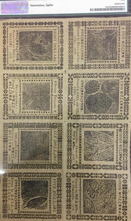 1776 Counterfeit Detector Uncut Sheet PMG AU 50