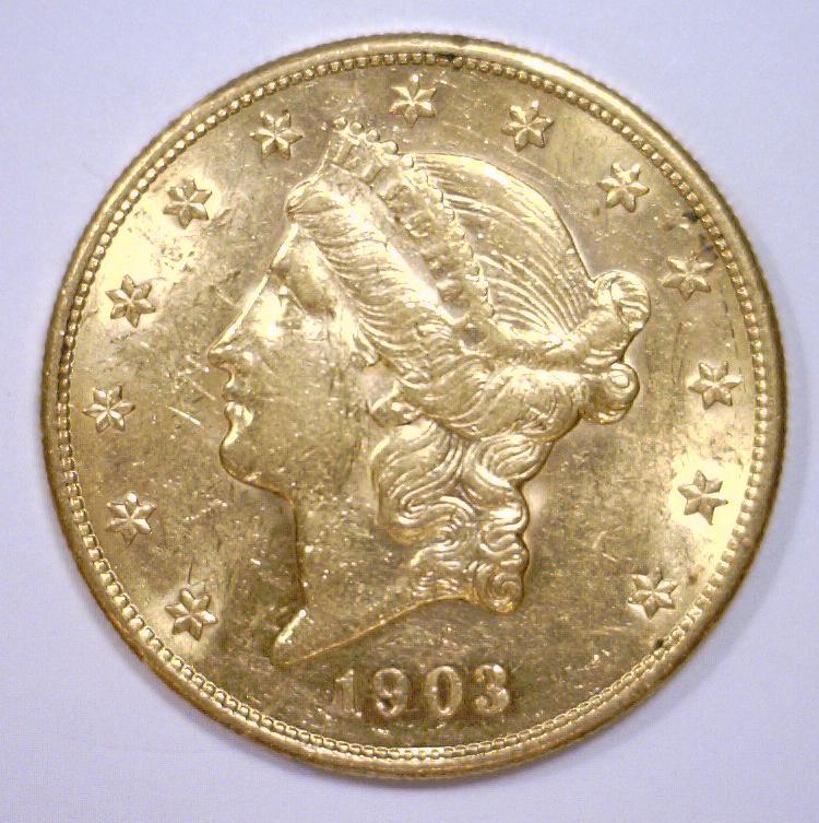 1903-S $20 Liberty Gold Double Eagle AU+