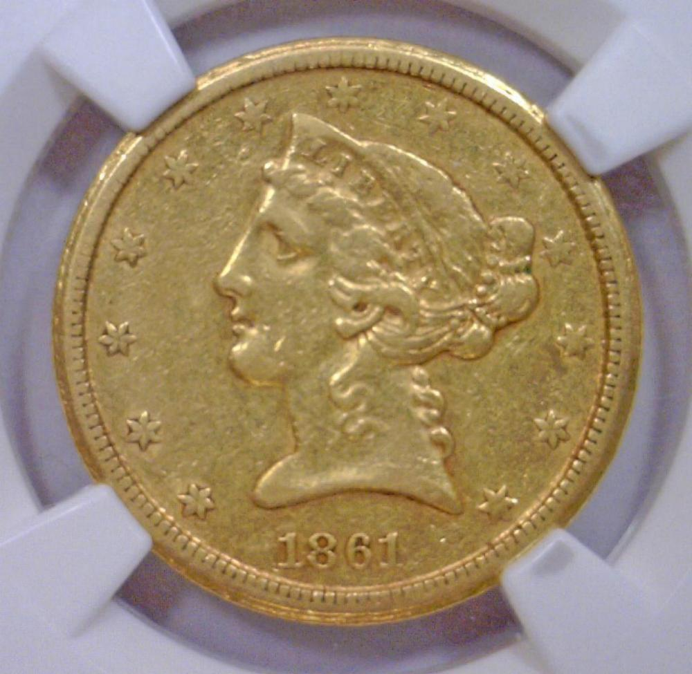 Lot 252: 1861-D $5 Liberty Gold Half Eagle NGC AU50