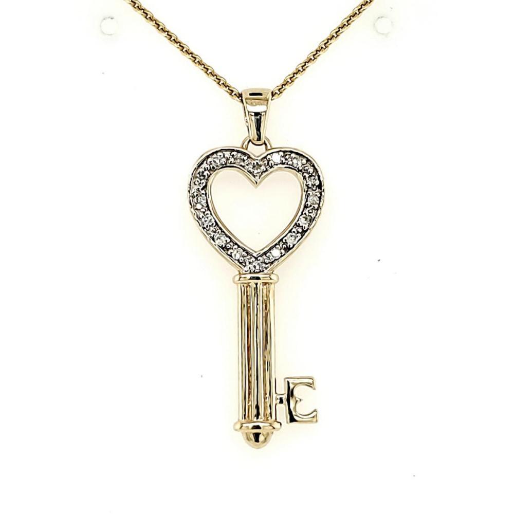 14kt yellow gold diamond key pendant