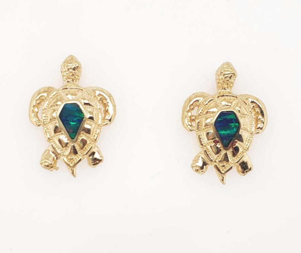 14kt yellow gold opal turtle earrings