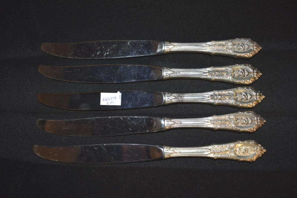 5 Wallace Rose Point Sterling Handle Knives