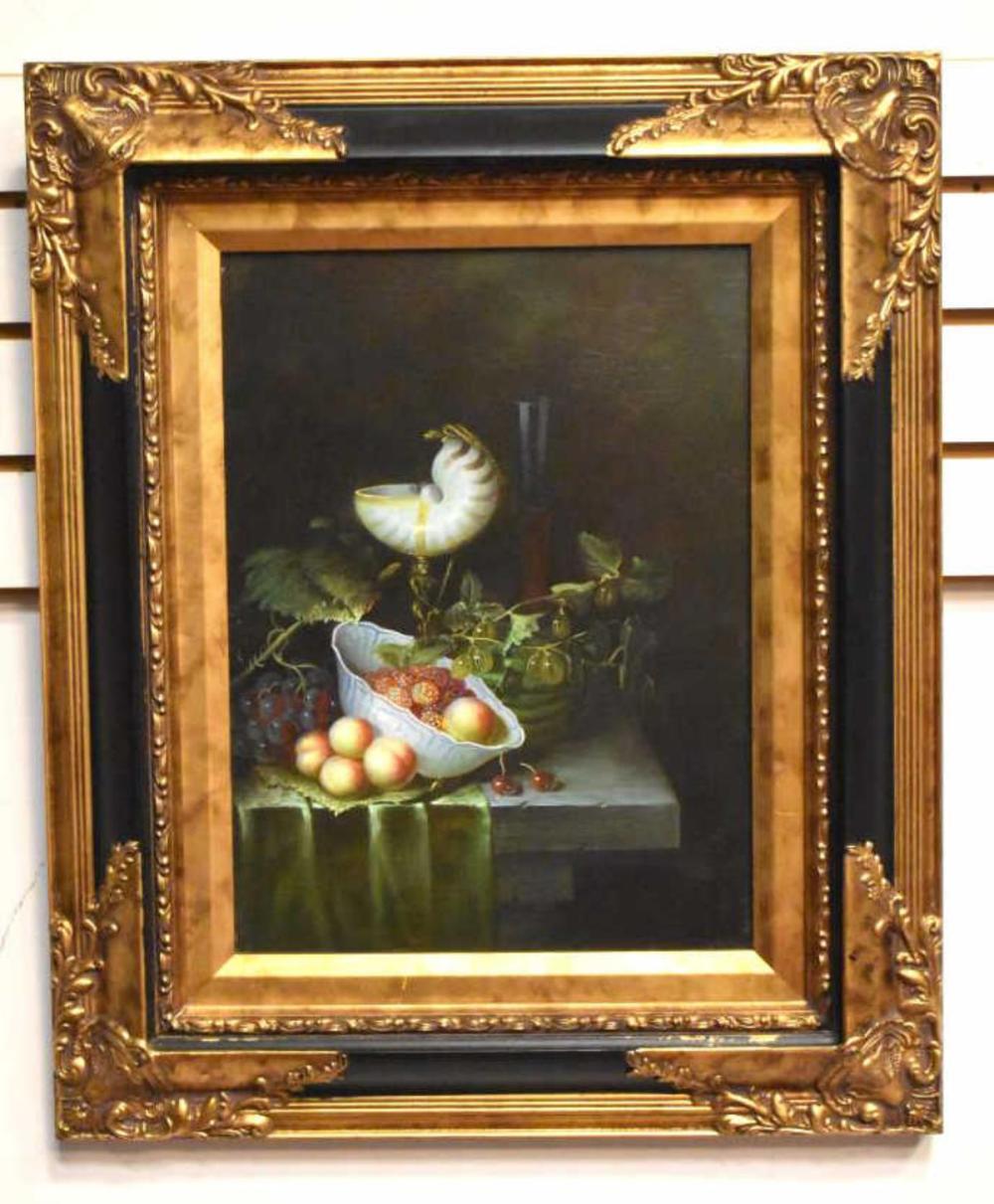 Ornately Framed Still Life Embellished Print