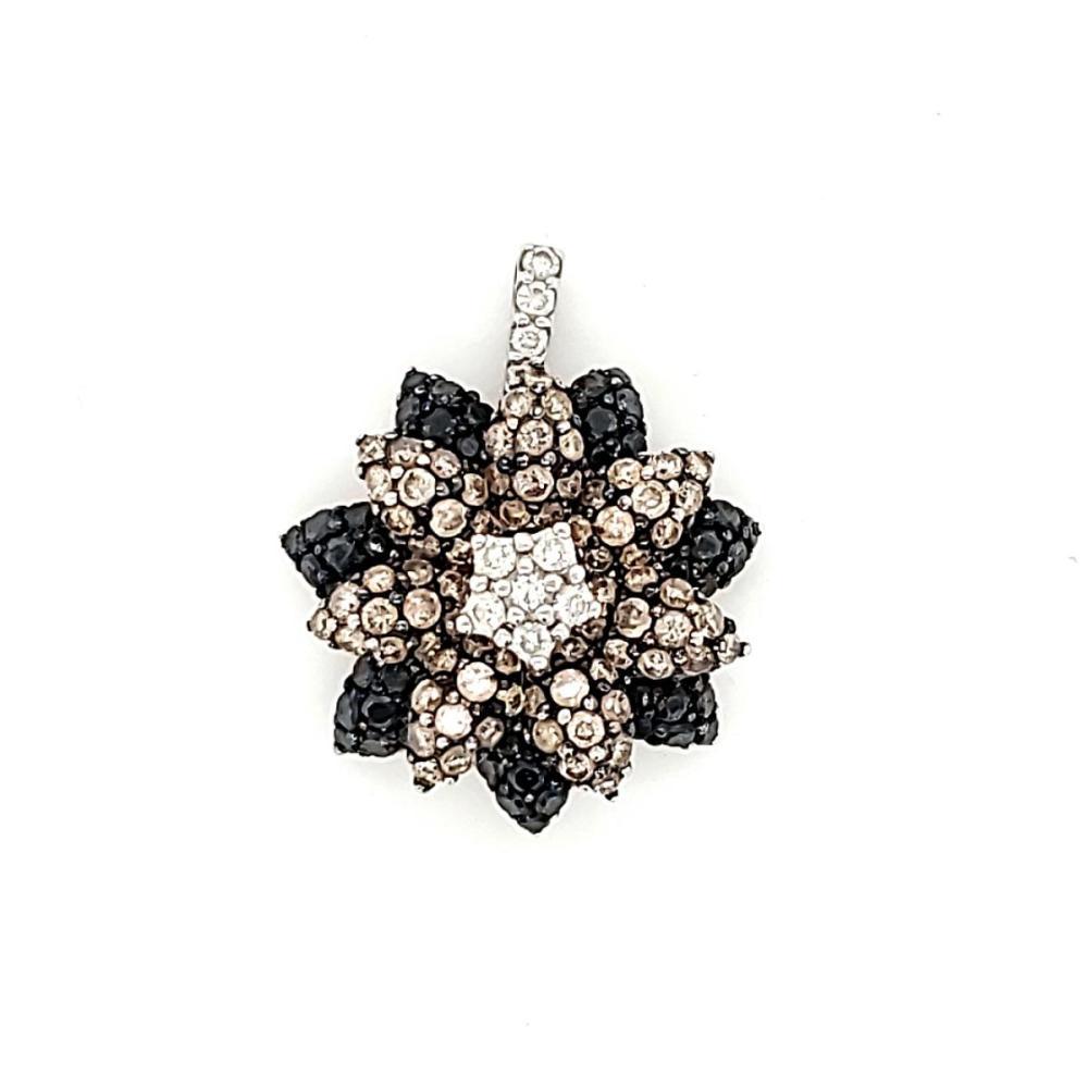 18kt fancy color diamond flower pendant by Effy