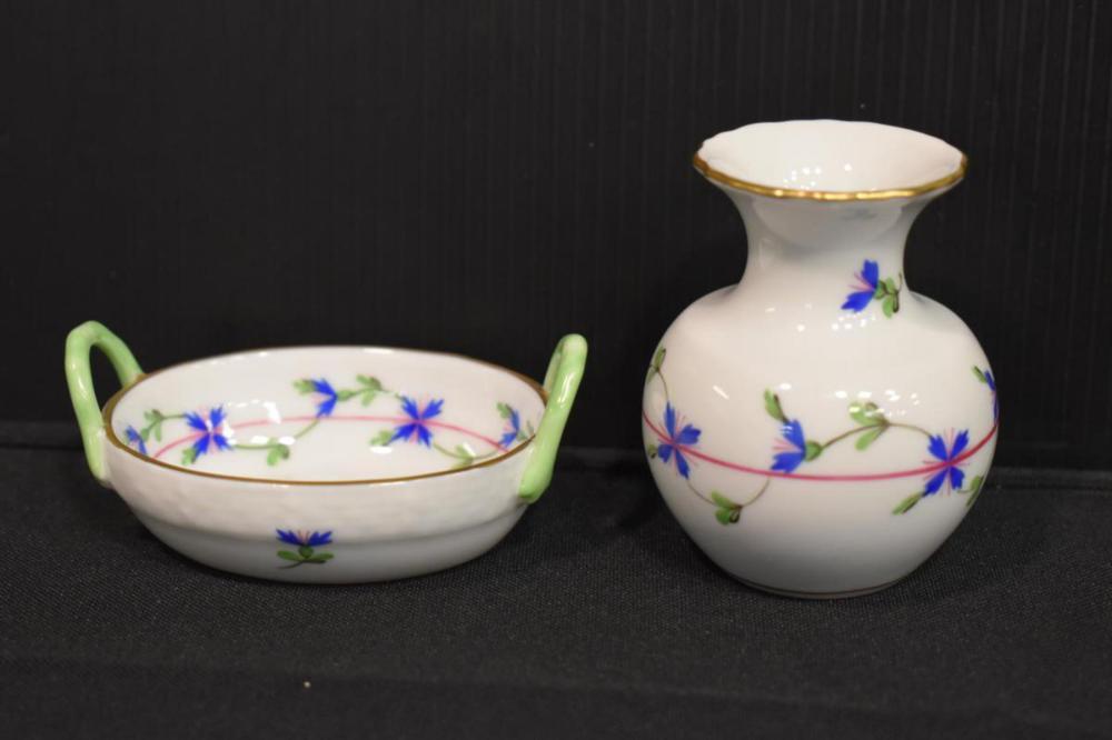 Two Pieces of Herend, Cornflower Garland