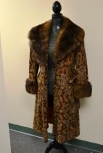 Vintage winter coat with fur collar and cuffs
