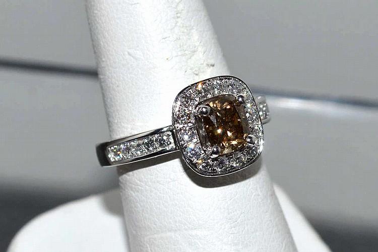 1.13ct Fancy Colored Diamond Ring In Platinum
